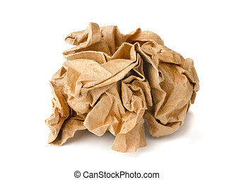 Crumpled paper - Brown crumpled wrapping recycled paper ball...