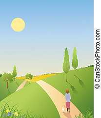 spring landscape - an illustration of a springtime landscape...