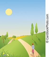 spring landscape - an illustration of a springtime landscape...