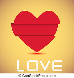Concept origami heart with place for your text. Vector illustration. Best choice