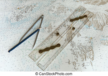 Parallel Ruler on Nautical Chart - Parallel ruler, pencil...