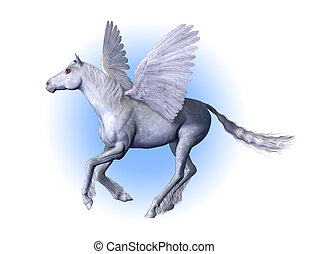 Pegasus - winged horse - 3D render.