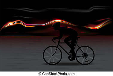 bycicle speed - vector illustration of full speed bicycle...