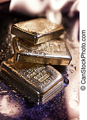 goldbars and flame - gold bullion and flame. concept. safe...