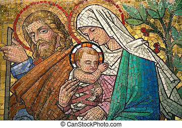 Maria with child old wall mosaic