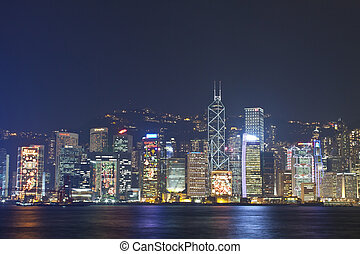 Hong Kong skyline at Christmas 2011 - HONG KONG - 9 DEC,...