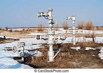 Wellhead - wellhead in the oil and gas industry. spring.