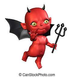 Little Devil - 3D render of a cartoon devil baby.
