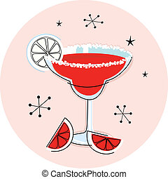Retro red margarita isolated on white - Margarita drink in...