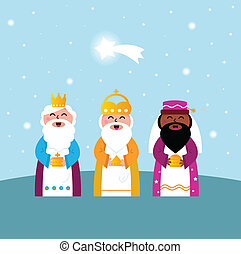 Three wise men bringing gifts to Christ - Caspar, Melchior...