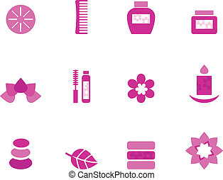 Wellness and spa pink icons and elements isolated on white -...