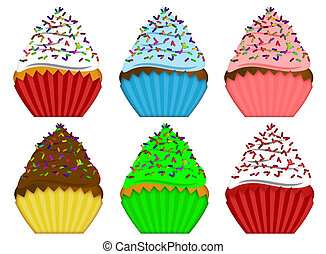 Six Variety Cupcakes with Sprinkles Illustration - Six...