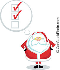 Santa to-do list - Cartoon Santa with thought bubble and...
