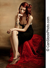elegant red hair woman, studio shot