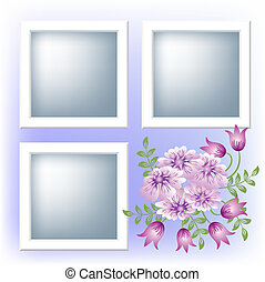 Photo frame and flowers - Page layout photo album with...