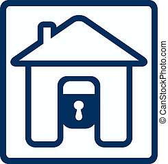house and lock silhouette - symbol of safety with house lock...