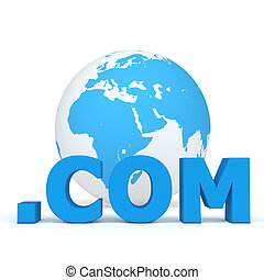 Top-Level Domain - Dot Com in Fron of the World - blue word...