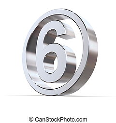 Shiny Circle - Number 6 - shiny 3d number 6 made of...