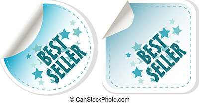 Best seller blue stickers set. vector label