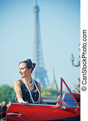 Happy smiling woman in a car Romantic in Paris - Young happy...