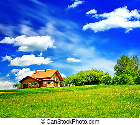 House and green field on blue sky
