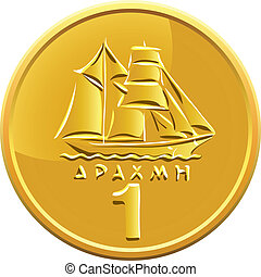 vector Greek money gold coin featuring ship - Greek drachma...