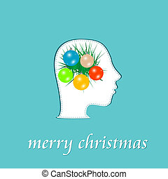 merry christmas symbol in human head. vector