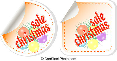 Winter christmas Sale stickers vector set