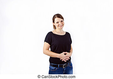 happy beautiful young woman gesturing with hands