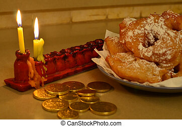 Moroccan Hanukkah Doughnuts - Hanukkah menorah (Hanukkiya)...