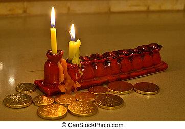 Hanukkah - Gilt and Hanukkiya - Hanukkah menorah (Hanukkiya)...