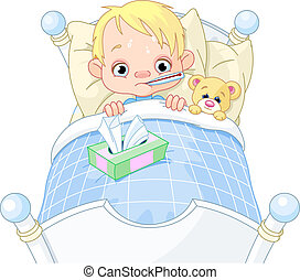 Sick Boy - Cartoon illustration of cute sick boy in bed