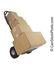 Box Loaded Delivery Dolly - Several boxes on a furniture...