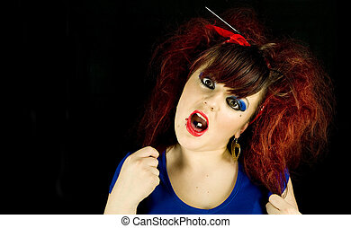 teenage girl pulling hair out black background