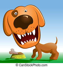Angry dog - Red dog growls Cartoon dog guarding a bowl with...