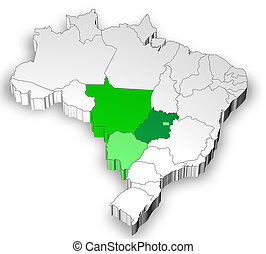 Map of Brazil with midwest region