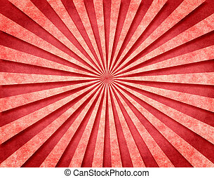 Red 3-D Sunbeams - A red sunbeam pattern on vintage paper...