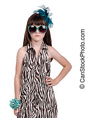 Fashionable little girl against white background