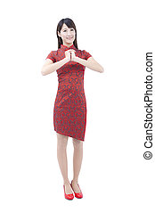 happy chinese new year.young asian woman  with gesture of congratulation