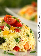 Vegetable Risotto - Vegetable risotto garnished with cherry...