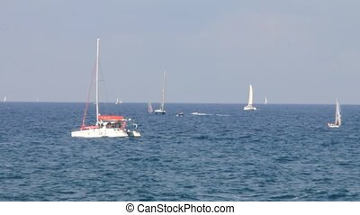 Sailing yachts on blue sea pattern
