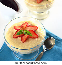 Semolina Pudding with Strawberry - Semolina pudding with...