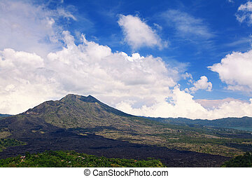 Batur volcano landscape from Kintamani crater Bali Indonesia