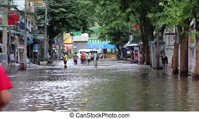 flood - Street under flood in Bangkok Thailand Life...