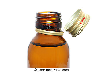medicine bottle - Brown medicine bottle isolated on white...