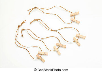 clothespins - Wooden clothespins and hemp twine