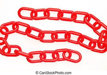 plastic chain - Red plastic chain on a white background