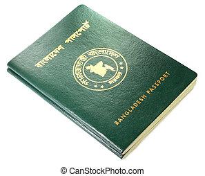 Passports of Bangladesh over white background