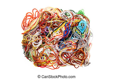 entangled threads - Entangled threads isolated on a white...