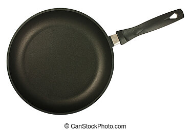 Black frying pan top view - Black frying pan isolated on...